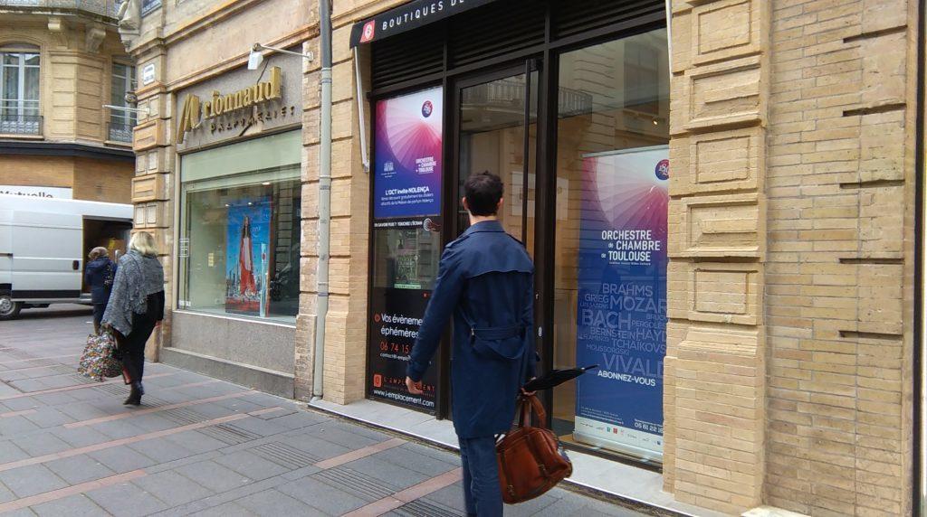 La boutique éphémère de l'Orchestre de chambre de Toulouse rue d'Alsace-Lorraine