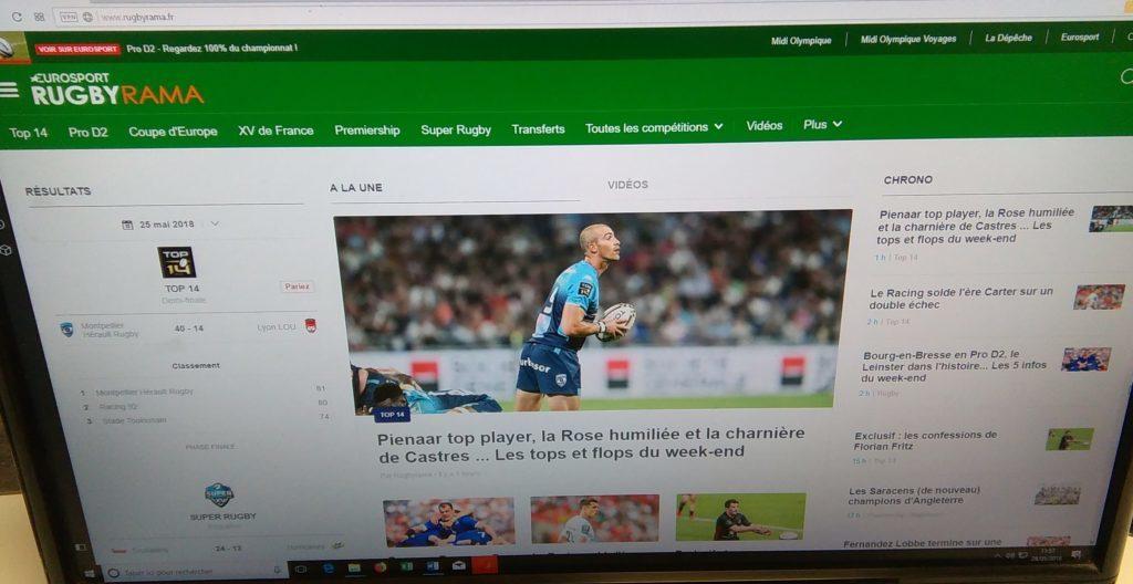 Homepage du site d'actualité sportive Rugbyrama du groupe La Dépêche.