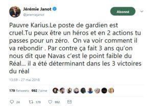 Tweet de Jérémie Janot sur Karius