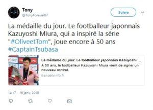La médaille du jour. Le footballeur japonnais Kazuyoshi Miura, qui a inspiré la série #OliveetTom, joue encore à 50 ans #CaptainTsubasa