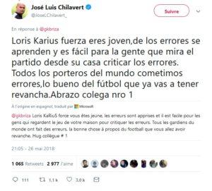 Tweet de José Luis Chilavert sur Karius