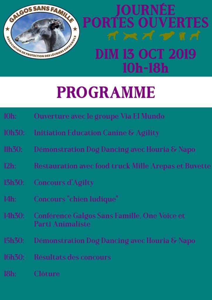 Programme journée porte ouvertes Galgos